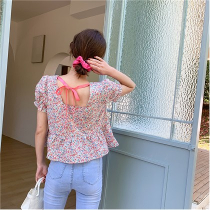 Floral Tie Back Peplum Top - Pink