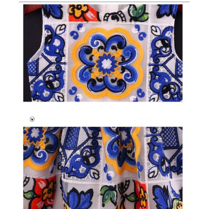 Porcelain Embroidered Detail Dress