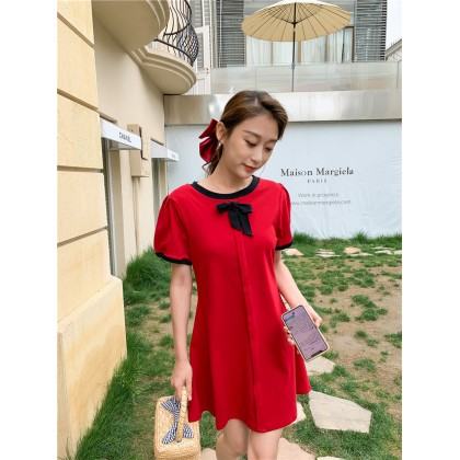 Contrast Trims Solid Dress - Red