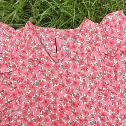 Frills Detail Floral Top